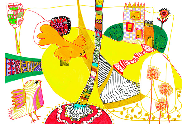 yellow bird going home art by mariska eyck illustration colorful map 4 400×600 jpeg