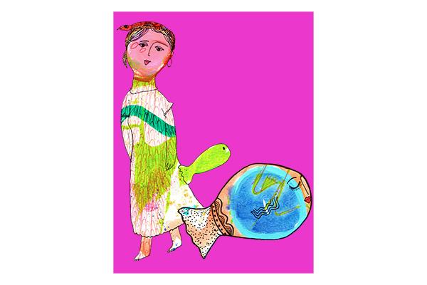 lady with fish art mariska eyck db 095 400×600