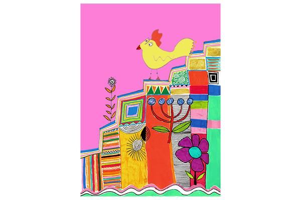chicken on the stairs art mariska eyck db 096 16596 400×600