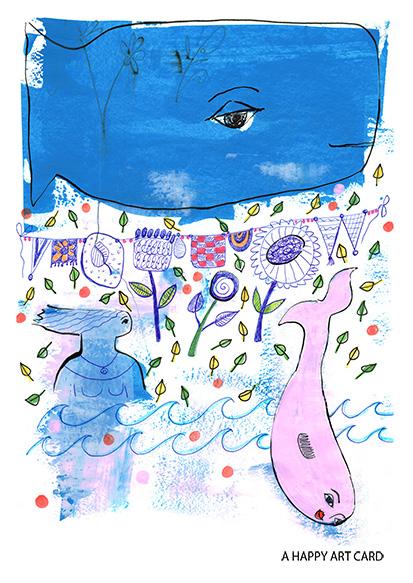 happy art card 04 whale and laundry art mariska eyck db 085 A6 100