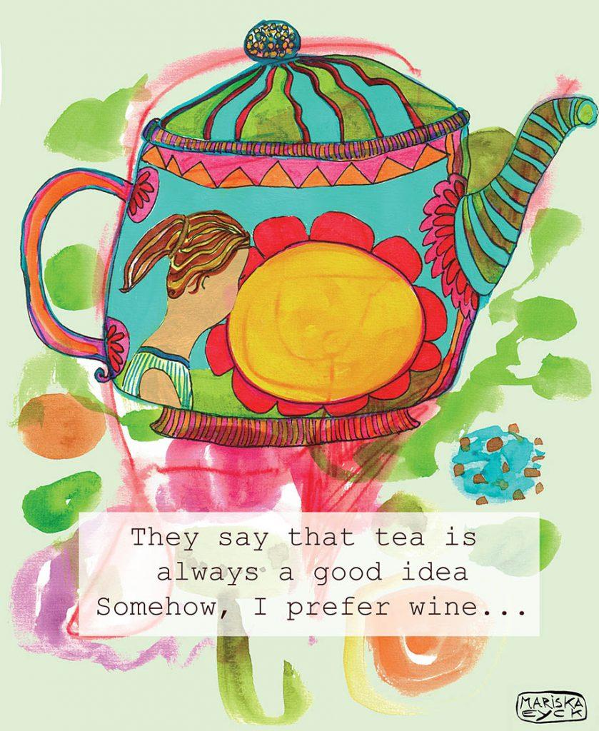 teapot, mixed media, art,flowers, fun, quote